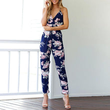 Load image into Gallery viewer, Cross Sling Halter Printed Jumpsuit