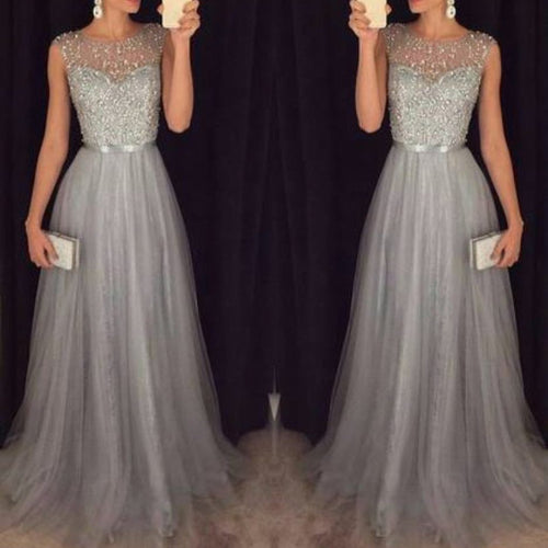 Chiffon Sleeveless Sequined Evening Party Dress