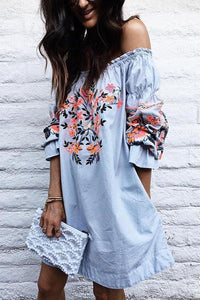 Off Shoulder Floral Printed Bell Sleeve Casual Dress