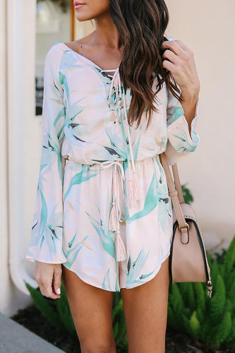 V Neck  Lace Up Tassel  Belt Loops  Printed Playsuits