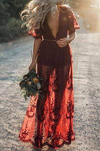 Deep V Neck  High Slit  Plain  Half Sleeve Maxi Dresses