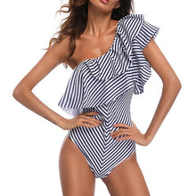 Load image into Gallery viewer, Black/White Stripe Ruffle One-Piece Swimwear
