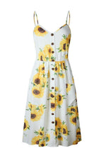 Load image into Gallery viewer, Spaghetti Strap  Single Breasted  Dot Floral Printed  Sleeveless Maxi Dresses
