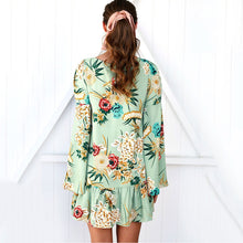 Load image into Gallery viewer, Lotus Leaf Long-Sleeved Printed Expansion Vacation Dress