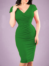 Load image into Gallery viewer, Surplice  Plain Bodycon Dress