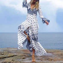 Load image into Gallery viewer, Elegant V-Neck Long Sleeved Bohemia Maxi Vacation Dress