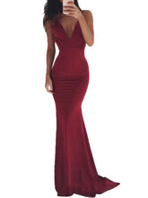 Load image into Gallery viewer, Spaghetti Strap Backless Plain Evening Dress