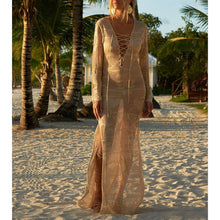 Load image into Gallery viewer, Bohemian Plain Long-Sleeved Bikini Smock