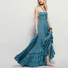 Load image into Gallery viewer, Bohemia Plain Backless Strap Beach Vacation Dress