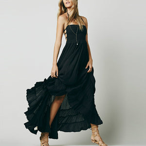 Bohemia Plain Backless Strap Beach Vacation Dress