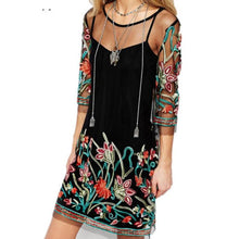 Load image into Gallery viewer, Bohemia Sexy Gauze Embroidery Slim Casual Dress