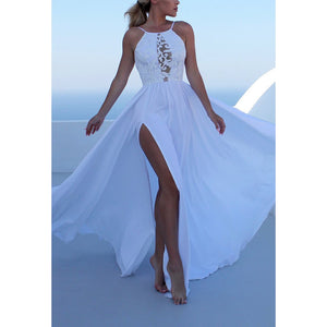 Sleeveless Strap Sexy Halter Split Irregular Party Dress