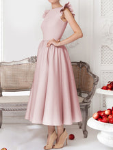Load image into Gallery viewer, Round Neck Flounce Plain Evening Dress