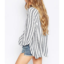 Load image into Gallery viewer, Loose V Collar Vertical Striped Long-Sleeved Shirt