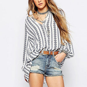 Loose V Collar Vertical Striped Long-Sleeved Shirt