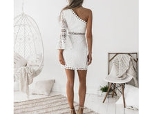 Load image into Gallery viewer, White Lace Oblique Shoulder Sexy Hollow Bodycon Mini Dress