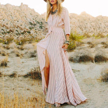 Load image into Gallery viewer, Stripe  V-Neck Classic Style Maxi Vacation Dress