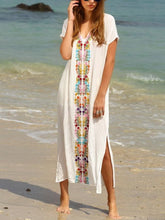 Load image into Gallery viewer, V-Neck  Slit  Printed Maxi Dresses