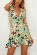 Load image into Gallery viewer, Deep V Neck  Flounce  Belt  Floral Printed  Sleeveless Skater Dress