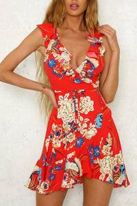 Deep V Neck  Flounce  Belt  Floral Printed  Sleeveless Skater Dress