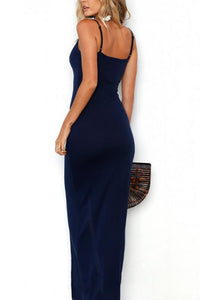 Deep V Neck  Single Breasted  Plain  Sleeveless Bodycon Dresses