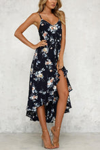 Load image into Gallery viewer, Spaghetti Strap  Asymmetric Hem  Cascading Ruffles  Floral Printed  Sleeveless Maxi Dress