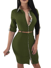 Load image into Gallery viewer, Fold-Over Collar  Plain Bodycon Dress