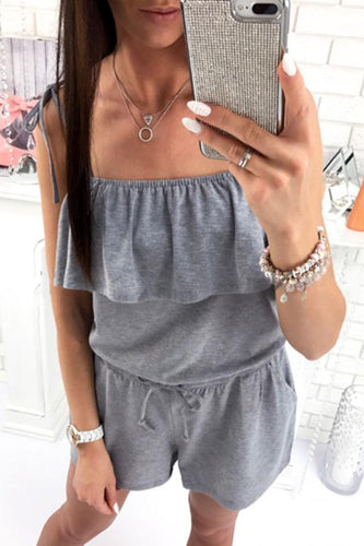 Spaghetti Strap  Cascading Ruffles  Plain  Sleeveless Playsuits