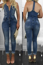 Load image into Gallery viewer, Sexy Sleeveless Skinny Denim Jumpsuits