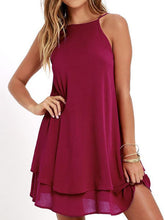 Load image into Gallery viewer, Spaghetti Strap  Asymmetric Hem  Plain Shift Dress