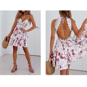 Sexy Backless Printed Vacation Dress