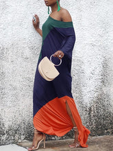 Load image into Gallery viewer, Round Neck  Color Block Maxi Dress