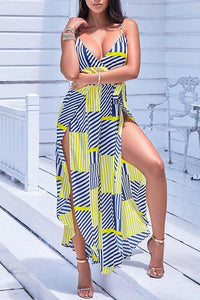 Fashion Printed Belted Wide Leg Split Jumpsuit