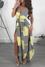 Load image into Gallery viewer, Fashion Printed Belted Wide Leg Split Jumpsuit