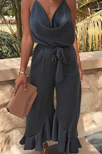Load image into Gallery viewer, Sexy V Neck Ruffles Hem Wide Leg Jumpsuit