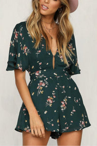 Casual Fashion Floral Print Backless Jumpsuits