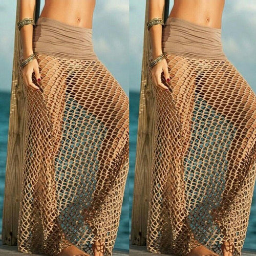 Sexy Pure Color Hollow Beach Vacation Skirt
