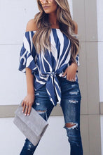 Load image into Gallery viewer, Stylish Off Shoulder Vertical Striped T-Shirts