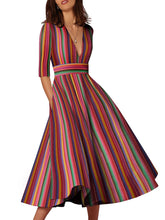 Load image into Gallery viewer, Multicolor Sexy Deep V-Neck Solid Midi Maxi Dresses