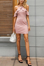 Load image into Gallery viewer, Spaghetti Strap  Flounce  Plain  Short Sleeve Bodycon Dresses