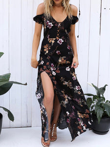 Spaghetti Strap  Side Slit  Printed Maxi Dress