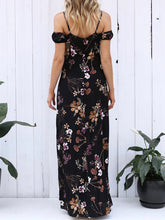 Load image into Gallery viewer, Spaghetti Strap  Side Slit  Printed Maxi Dress