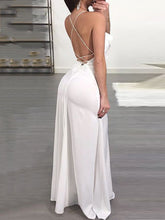 Load image into Gallery viewer, Spaghetti Strap  Slit  Plain Maxi Dress