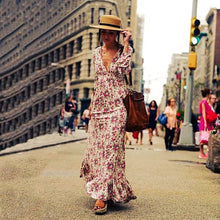 Load image into Gallery viewer, Women's V Neck Boho  Beach Evening Maxi Dresses