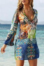 Load image into Gallery viewer, Sexy V Collar Printing Chiffon Beach Vacation Dresses