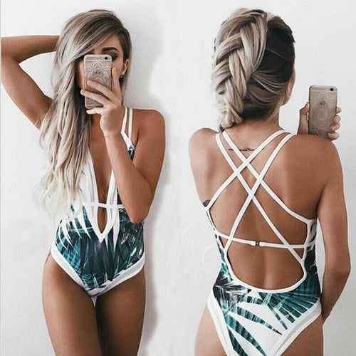 V Neck Backless Hollow Out One Piece Bikini