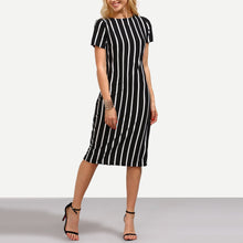 Load image into Gallery viewer, Classic Stripe Round Collar Short Sleeve Bodycon Dresses