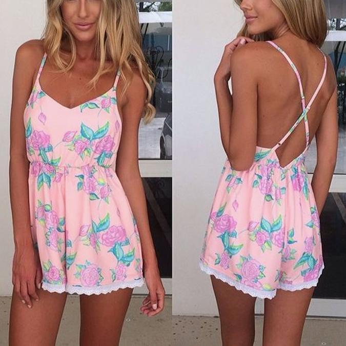 Sexy Fashion Sleeveless Print Back Lace Sling Playsuit