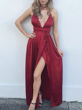 Load image into Gallery viewer, Spaghetti Strap Backless High Slit Plain Evening Dresses