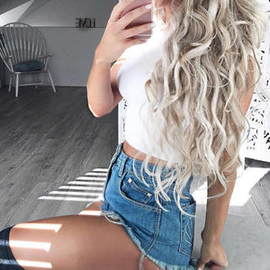High Waist Solid Color Casual Denim Shorts Pants